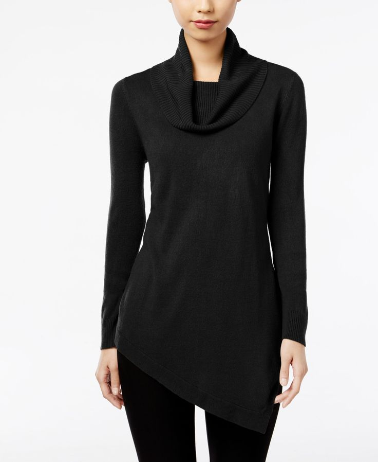 Ny Collection Cowl-Neck Asymmetrical Tunic Sweater