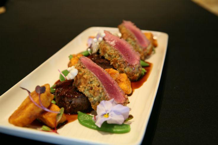 Mills Reef Head Chef Atilla Kovacs' Almond crusted lamb loin and warm lamp shoulder rillettes http://www.stuff.co.nz/life-style/food-wine/silverfernfarms