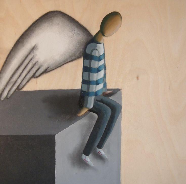 angel painting on wood stripes