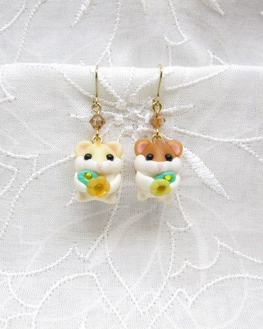 Petit Cute Dwarf Hamsters Earrings Fimo Polymer Clay Swarovski Kawaii Mouse Pet Present Spring One of a Kind One-off