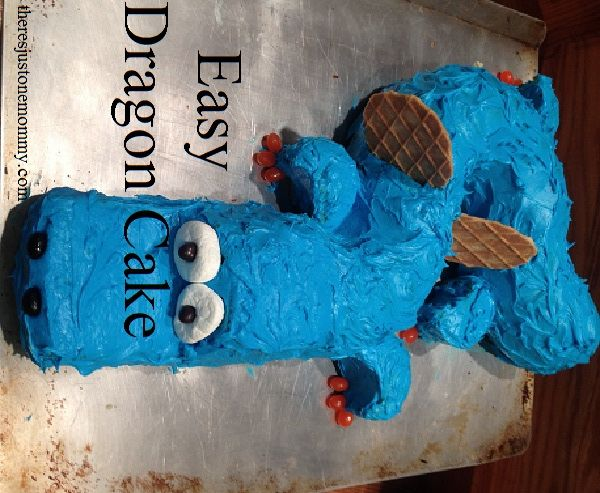 Directions for an easy dragon birthday cake from @There's Just One Mommy