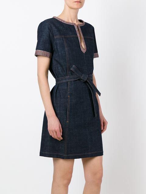 See By Chloé Vestido jeans com detalhe contrastante
