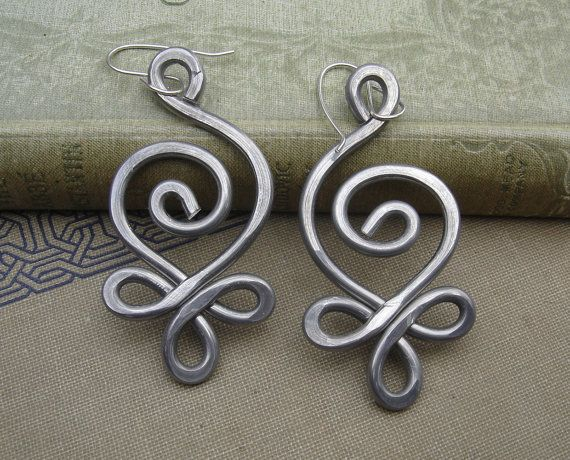 Unique BIG Earrings  Celtic Budding Spiral by nicholasandfelice, $18.00
