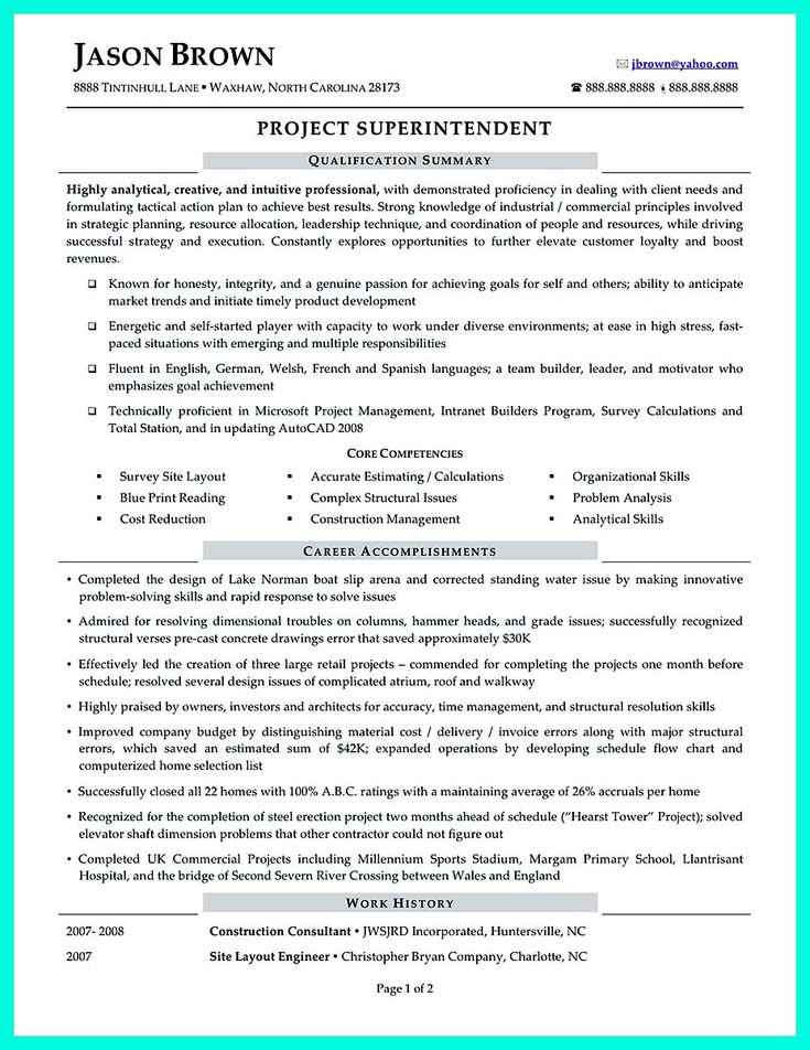 cool Simple Construction Superintendent Resume Example to Get - construction superintendent resume