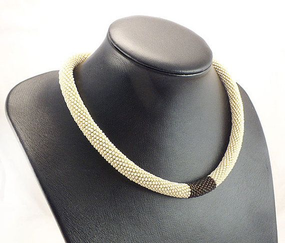 Beads crochet rope necklace beige and brown ,beaded necklace ,geometric, beadwork ,plus size