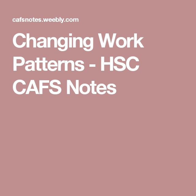 Changing Work Patterns - HSC CAFS Notes