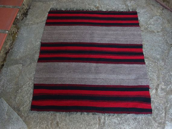 Small Antique Kilim Rug Striped Prayer Wall by VintageHomeStories