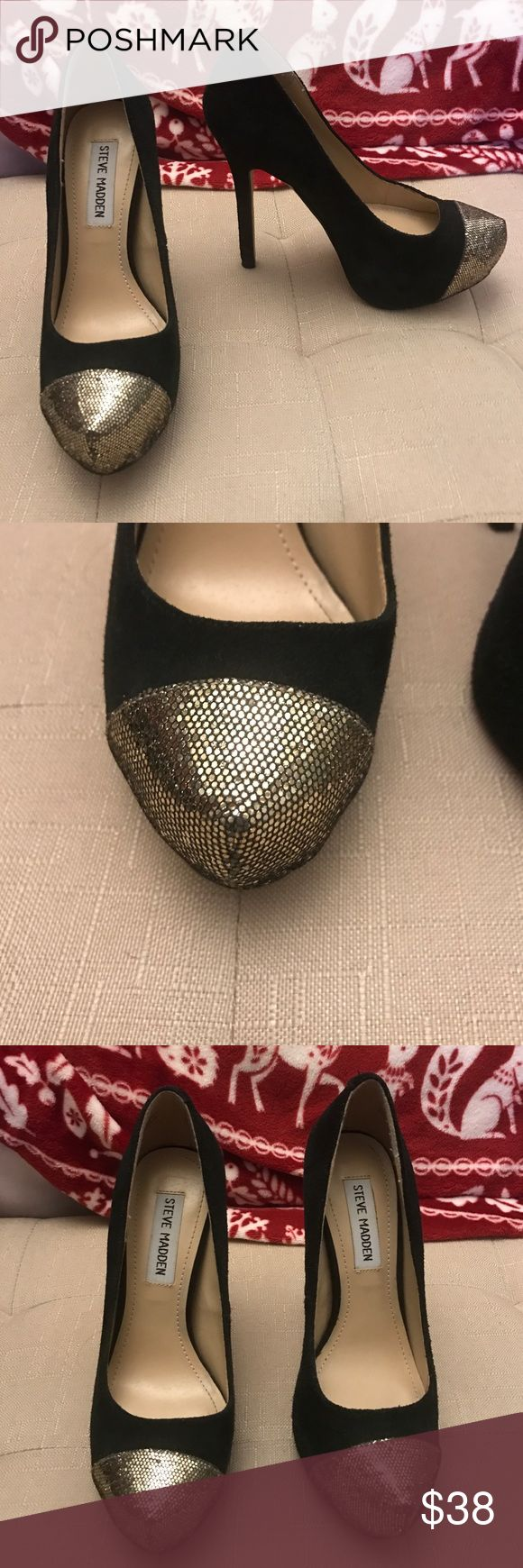 Amazing black heels! Steve Madden heels with an about 5in heel, they're black suede with a gold/silver toe so t can be worn with both! Comfortable give how high they are and wore only a few times! No scuffs on the suede, they're in great condition! Steve Madden Shoes Heels