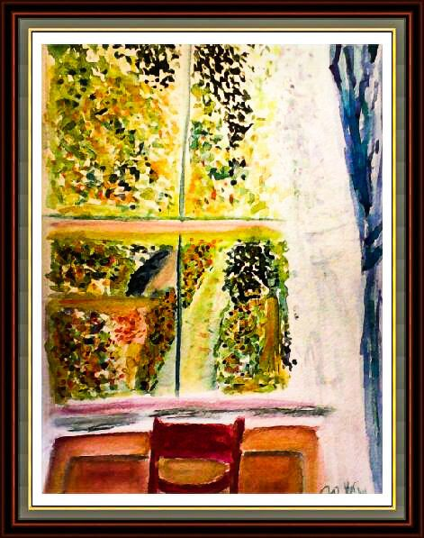The Upstairs Room - Original watercolor painting by Robin Booker 9x12in by BluberryHillBoutique on Etsy