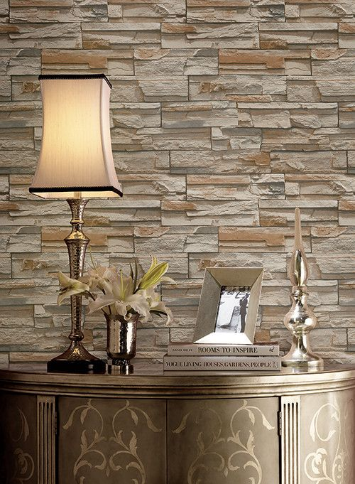 Flat Stone Wallpaper in Brown and Grey by York Wallcoverings