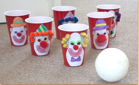 Use plastic cups to create a fun circus bowling game for preschoolers or younger elementary students. Download the free printable for kids to color! | craftprojectideas.com