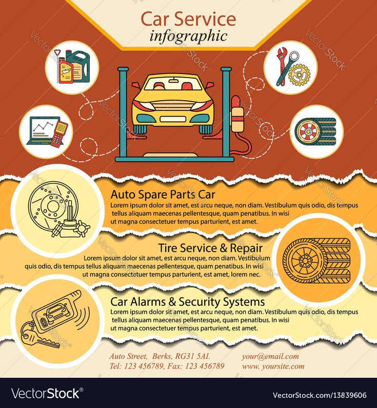 Car repair infographics. Cat service and Tire infographic. Ideal for promotional leaflets, posters and banners. Vector. Download a Free Preview or High Quality Adobe Illustrator Ai, EPS, PDF and High Resolution JPEG versions.