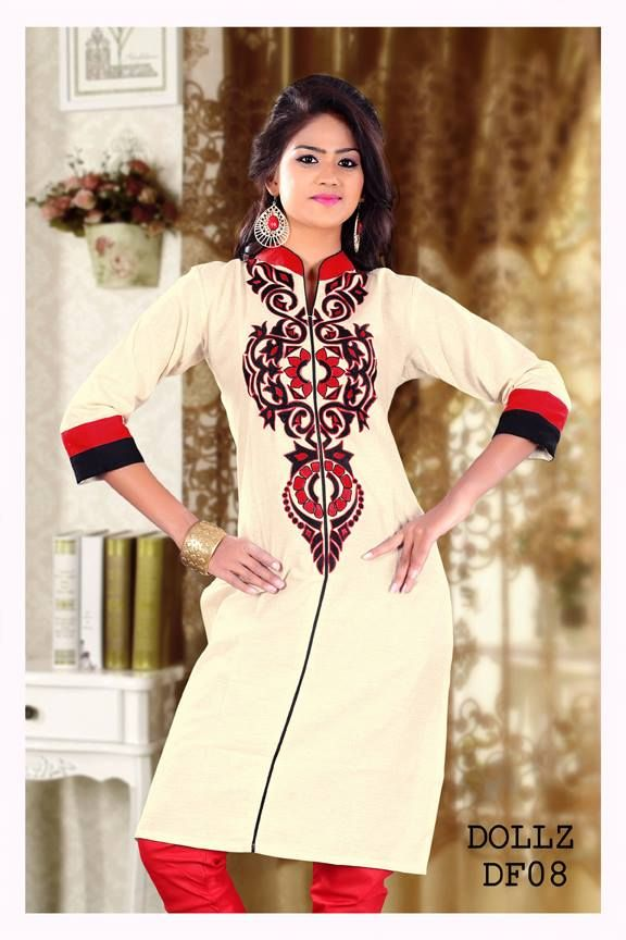 Long Cotton Linen Designer Kurti