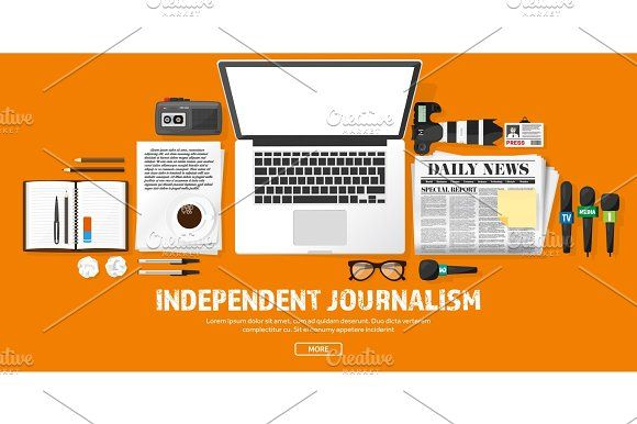 Mass media background in a flat style.Press conference with correspondent and reporter.Broadcasting.Multimedia news,newspaper.Tv show. Internet radio, television. Microphone. by 32pixels on @creativemarket