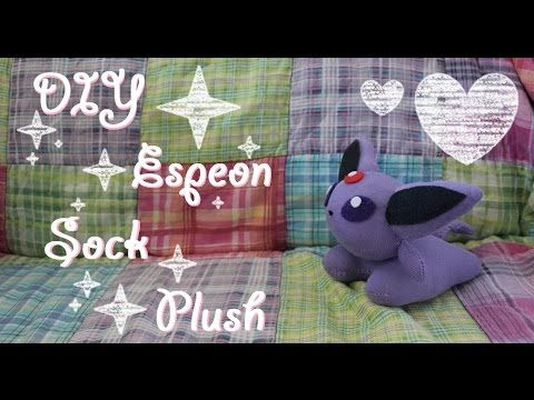 ❤  DIY Espeon Sock Plush! An easy tutorial on how to make your own Pokem...