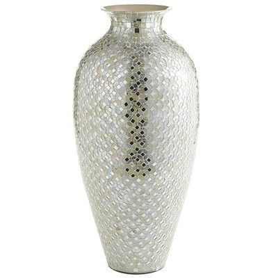 Tall White Silver Mosaic Urn Vase Mosaic Vase House Accessories
