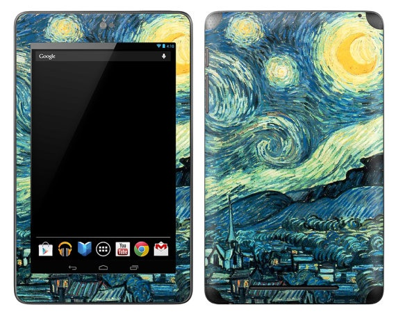 Google Nexus 7 Skin Cover  Vincent Van Gogh Starry by stickitskins.