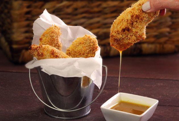 Paleo Chicken Strips with Honey Mustard Sauce by paleonewbie #Chicken_Strips #Healthy #Kid_Friendly