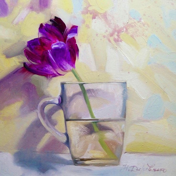 Contemporary still life with the violet tulip