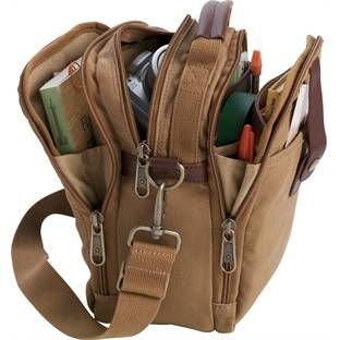 Duluth Trading Company Fire Hose Field Bag -- Nice little bag, antique finishing, excellent organization w\leather trim and handle. Its a bit of a murse though.