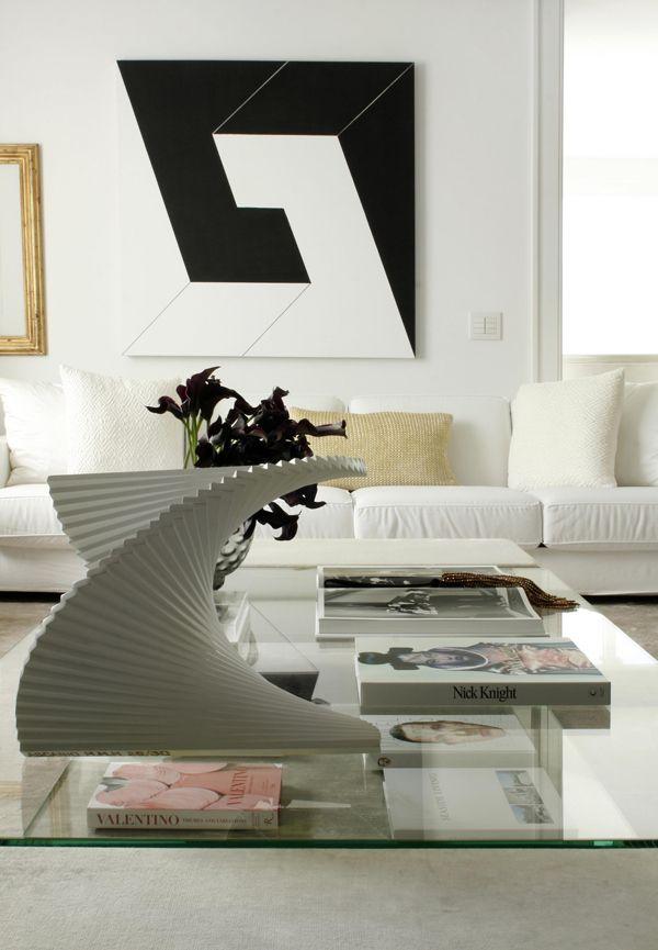 Diego Revollo Pacaembu apt living room white black modern art