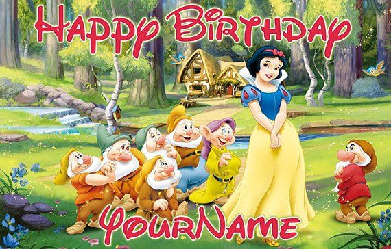 Snow White Personalize Custom Printed Birthday Backdrop Banner Snow White Party Snow White Birthday Snow White Birthday Party