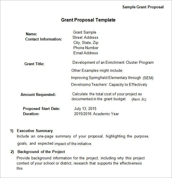Grant Proposal Template Grant Proposal Template 9 Download Free Documents In Grant Proposal Grant Proposal Writing Proposal Letter
