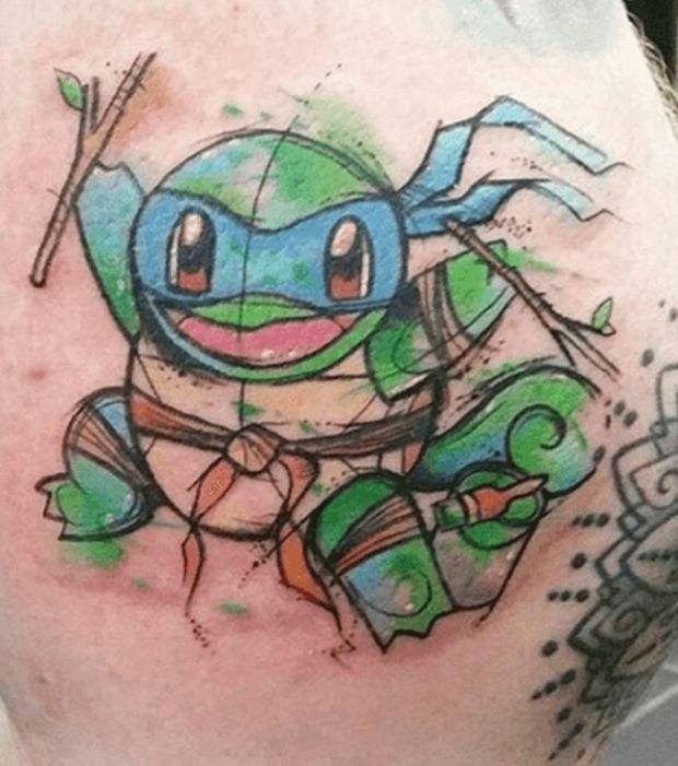 Photo  Tatouages Pokémon  Carapuce façon Tortue Ninja