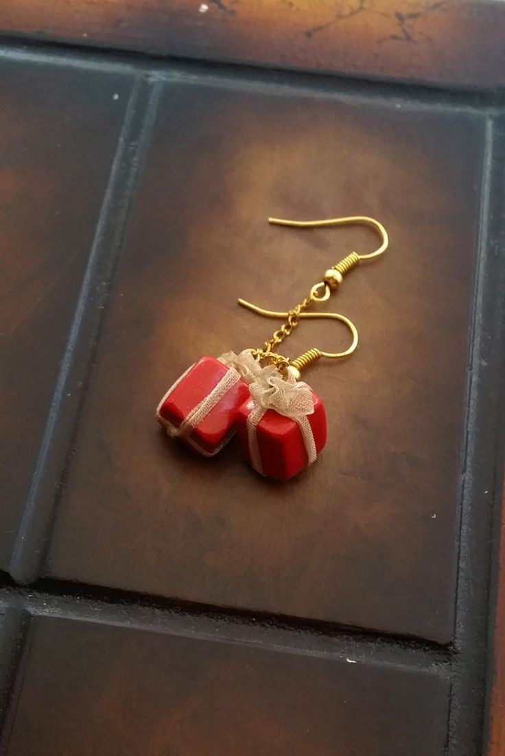 Red Gift Box Miniature Earrings - Christmas Present Earrings - Miniature Jewelry - Polymer Clay Jewelry - Christmas Gift Earrings - Red Gift by EvasCreationsShop on Etsy