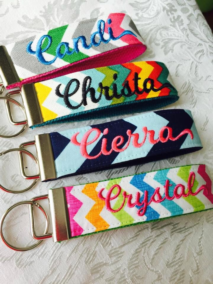 Chevron Key Chain Wristlet; Monogram, Personalized, Monogrammed, Embroidered, Teachers Gift, Bridesmaids, Key Fob, Name, by CrossAndCrown on Etsy https://www.etsy.com/listing/231962723/chevron-key-chain-wristlet-monogram