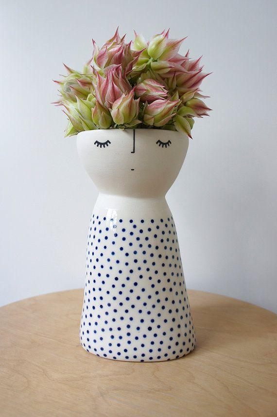 Lanky Miss Fizz ceramic stoneware pottery by vanessabeanshop