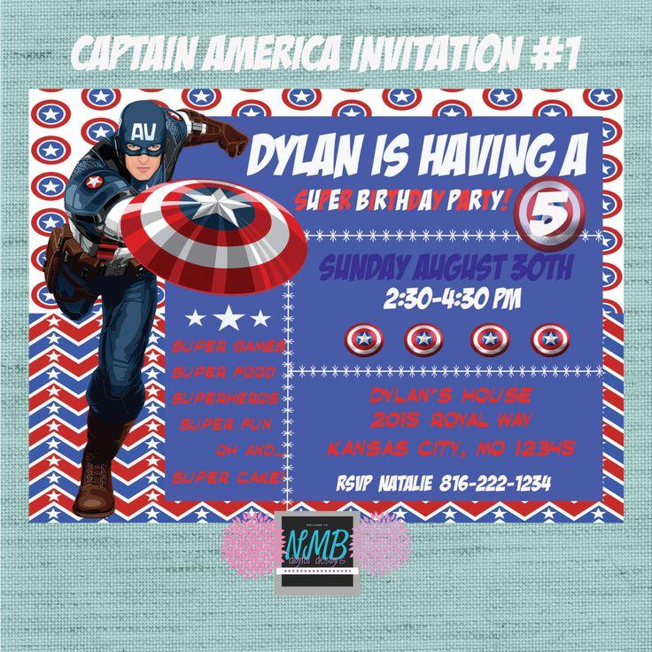 Captain America Invitation by NMBdigitalDesigns on Etsy