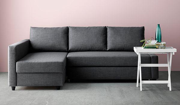 FRIHETEN Sofá cama esquina con almacenaje, Skiftebo gris oscuro IKEA