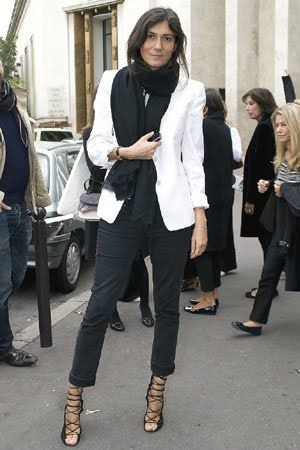 amazing heels, blazer, chunky scarf, slim fit jeans - no one does it better than e. alt.