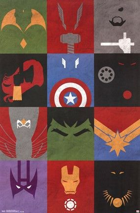 Can you name all twelve Avengers in this Minimalist Grid poster? Make this paper poster last in the following ways: Get It Laminated - This coating protects the paper poster from fading, dirt and fing