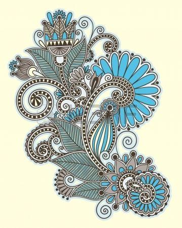 Dibujar a mano original l�nea de arte de dise�o de la flor ornamental. Estilo tradicional de Ucrania photo