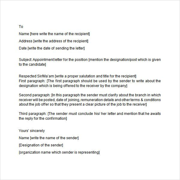10 best Appointment Letters images on Pinterest Cover letter - sample appointment letter