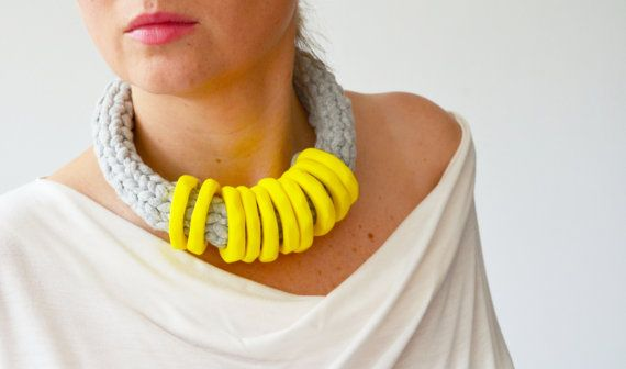 Yellow statement necklace/summer necklace/yellow necklace/rope necklace/summer fashion/yellow accessory/bright necklace/graduation gift