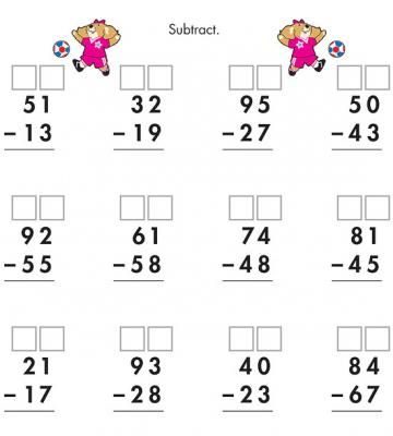 <p>Advance+to+more+complicated+subtraction:+Teach+kids+to+regroup,+or+deduct,+numbers+from+the+10s+to+the+ones+columns.</p>