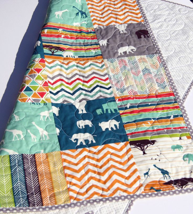 Safari Quilt, Serengeti Animals Toddler Baby Blanket Handmade