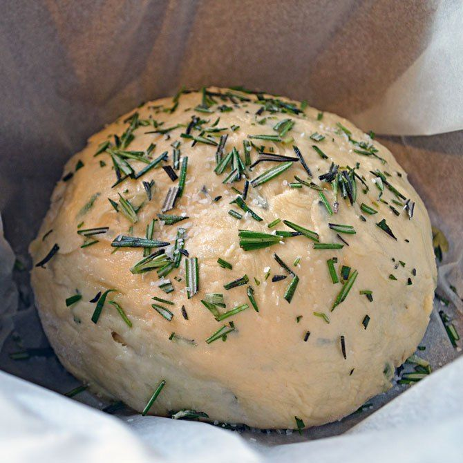 Rosemary Olive Oil Bread  (Instant pot - Made and knead dough. Let rise on the yogurt setting. Cover in foil and let steam for 20 minutes on manual setting. Add some salt and olive oil and broil in oven for color and crunch. Dip in olive oil and spices.)