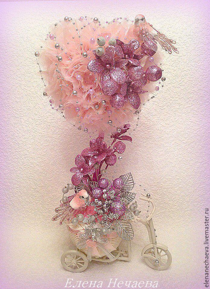 """Купить """"Весенняя капель"""" - розовый, сиреневый, серебристый, топиарий, свадьба, 8марта, день влюбленных"""