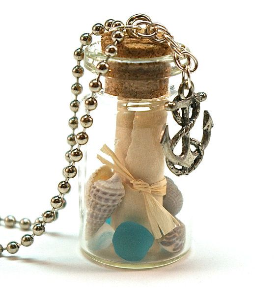 Message in a Bottle Necklace- Mini Glass Bottle with Tied Scroll, Anchor Charm, Sea Glass and Shells
