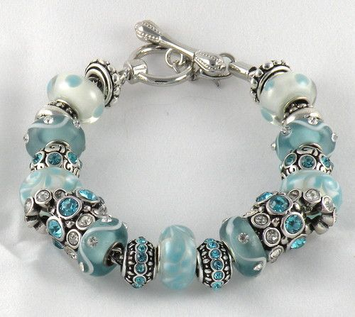 Brighton Jewelry Bracelets: New Light Aqua Complete Charm Bracelet Beads Bracelet