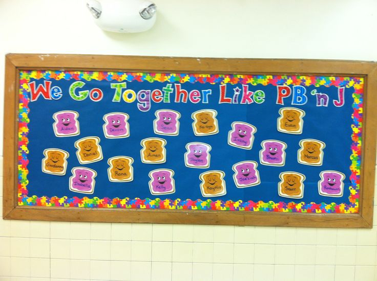 Peanut butter and jelly back to school bulletin board. Pb & j cut outs from dollar tree!
