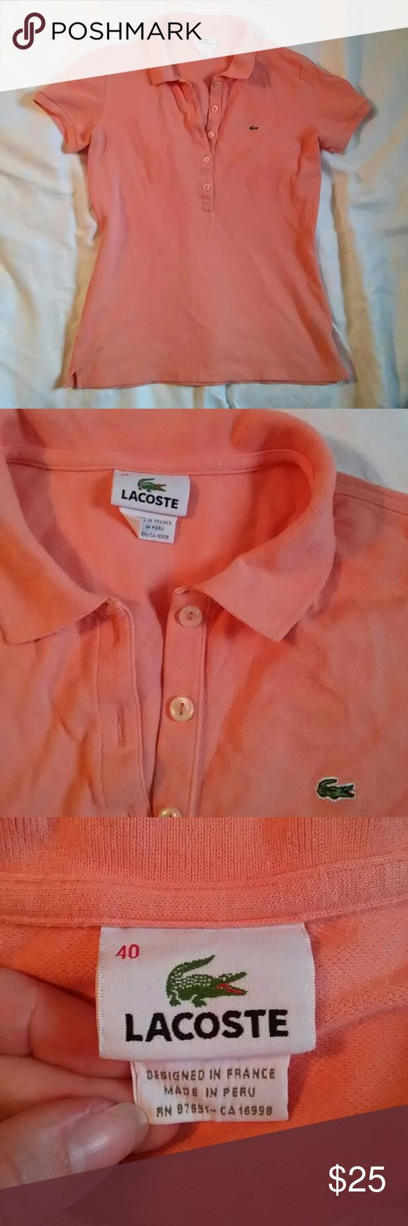 "Lacoste Preppy Classic Fit Pique Polo Shirt Very good used condition cotton pique polo shirt in melon.  Measures 18"" armpit to armpit and 21.5"" long. Lacoste Tops Tees - Short Sleeve"