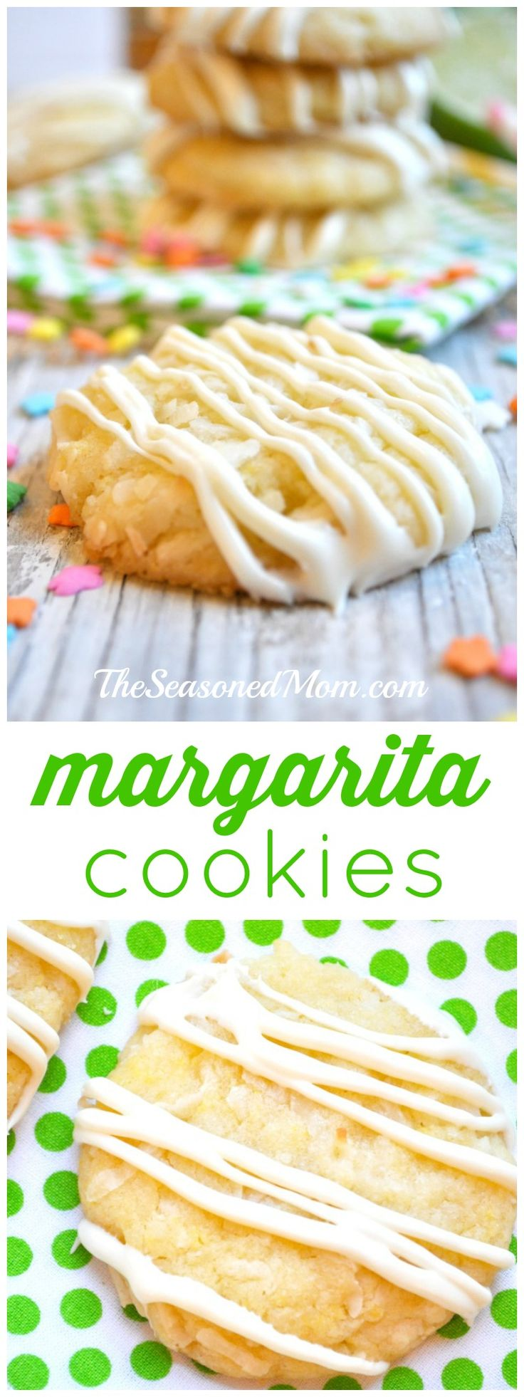 Your favorite warm-weather cocktail takes the form of a thick, chewy, coconut sugar cookie that is glazed with lime and rum-flavored icing. Perfect for Cinco de Mayo, beach picnics, and cook-outs!