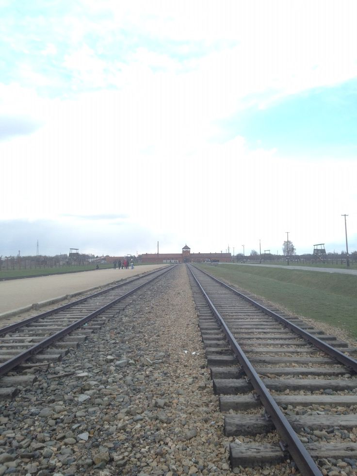 This photograph shows how long the track is with Birkenau camp looking very small in the distance
