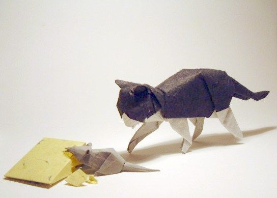 Cat, mouse and cheese origami by David Brill
