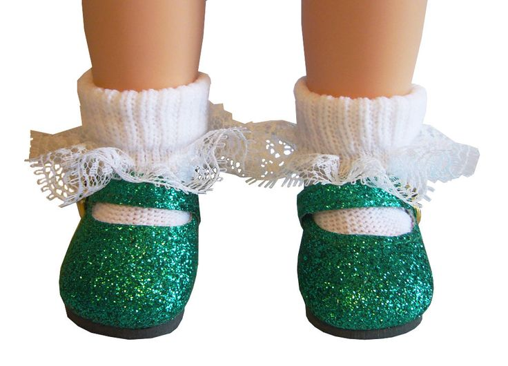 "Christmas Green Glitter Shoes for American Girl 14.5"" WELLIE WISHER Doll Clothes #DollClothesSewBeautiful"